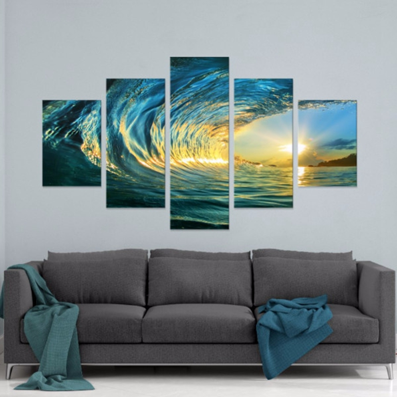 5 Panels Blue Glass Waves Seascape HD Wall Group Pictures Modern Home Decorative Canvas Oil Painting Living Room Modular Photos