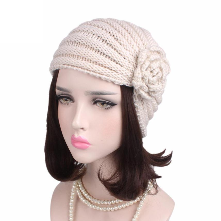 Women Ladies Boho Knitting   Beanie   hat solid color   skullies     beanies   winter hats