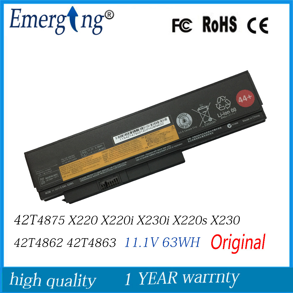 11.1v 63wh New  Original   Laptop Battery For Lenovo Thinkpad X220 X220i X230 X220S X230i 42T4861 42T4862