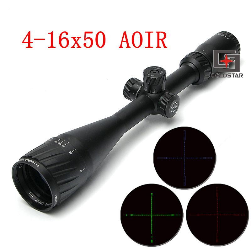 4-16x50 AOIR Shock Proof Red/Green/Blue Illuminated Reticle Fiber Tactical Riflescope Hunting Optical Gun Rifle Scope with mount tactical 3 9x32 riflescope blue illuminated rangefinder reticle hunting scope with red laser