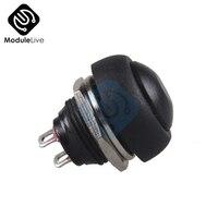 Botón de encendido y apagado momentáneo resistente al agua, Mini interruptor pequeño de 12mm y 0,12 m, PBS-33B, Color negro, 5 uds.
