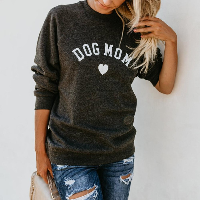 Drop Shipping DOG MOM Funny Letter Print Sweatshirt For Women Full Sleeve Casual Tops Female Autumn Clothes Feminina Sweatshirts 3