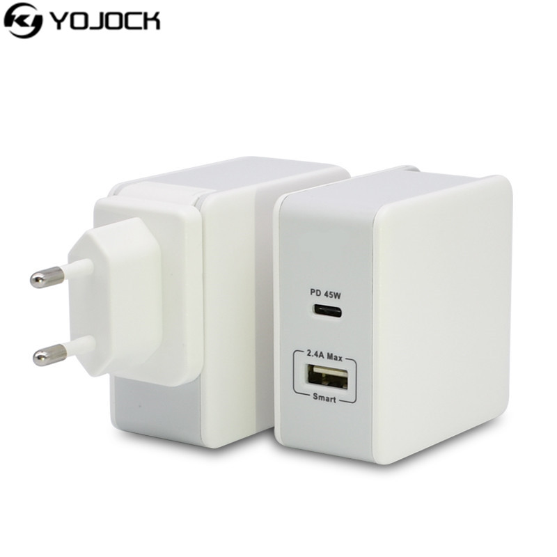 yojock 45w usb type c wall charger power adapter with power delivery for apple macbook iphone x. Black Bedroom Furniture Sets. Home Design Ideas