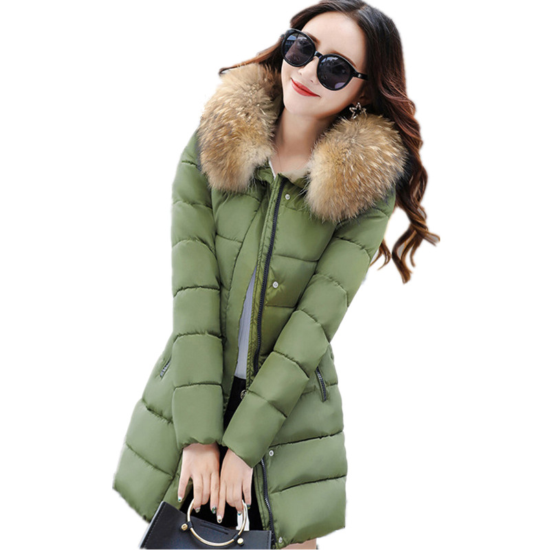 Winter Women Fur Collar Hooded Solid Color Parka Medium-long Women Coat Large Size Cotton Padded Jacket Overcoat TT3245 winter hooded warm medium long parka slim fashion winter coat women large size cotton padded winter jacket overcoat tt3320