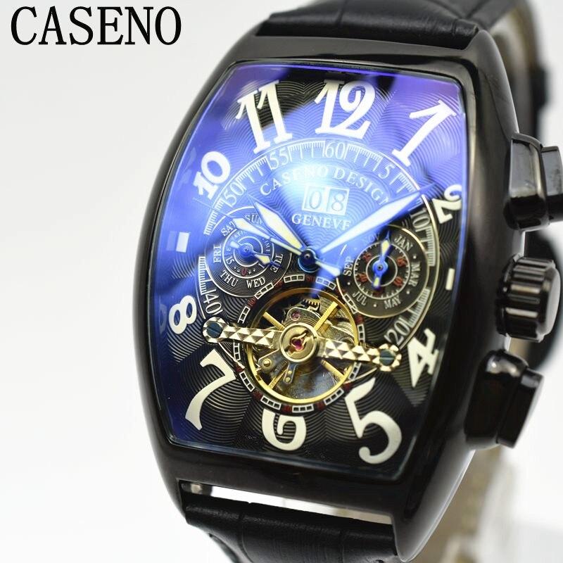 CASENO Tourbillon Automatische Mechanische Chronograph Männer Leder Watchd Skelett Herren Uhren Marke Luxury Sport Business Uhren-in Mechanische Uhren aus Uhren bei  Gruppe 2