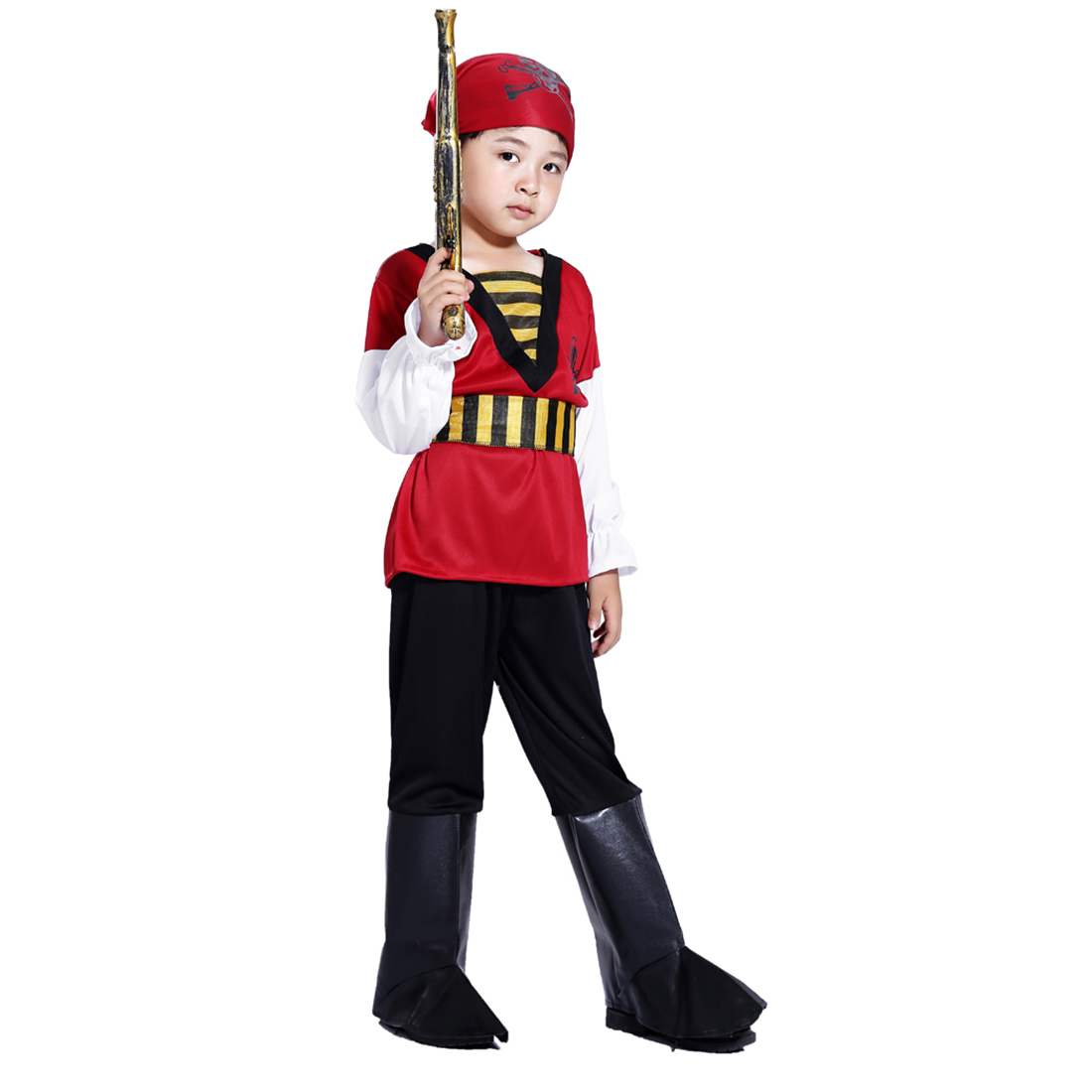 Halloween Pirate Cosplay Suit Boy Red Skull Pirate Costume Set With Pirate Blaster For 4-6 Years Old - M Size