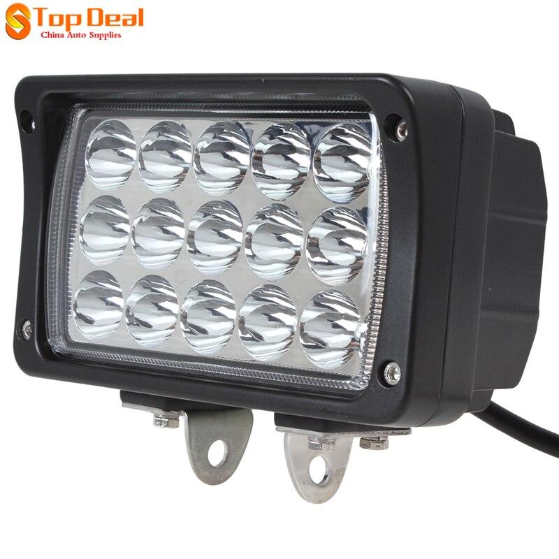 45W 15 Leds Work Light Bar Spot  Light Beam  Drving Fog Lamp Motorcycle Tractor Boat Off Road Truck SUV ATV 2pcs truck light 4 leds lamp