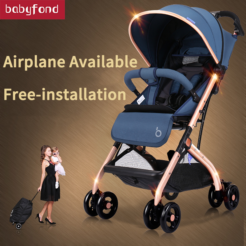Light Baby Stroller Umbrella Baby Car Gold Frame 6 Gifts Travel Can Lay Can Seat High Landscape Baby Carriage 175 Newborn Pram