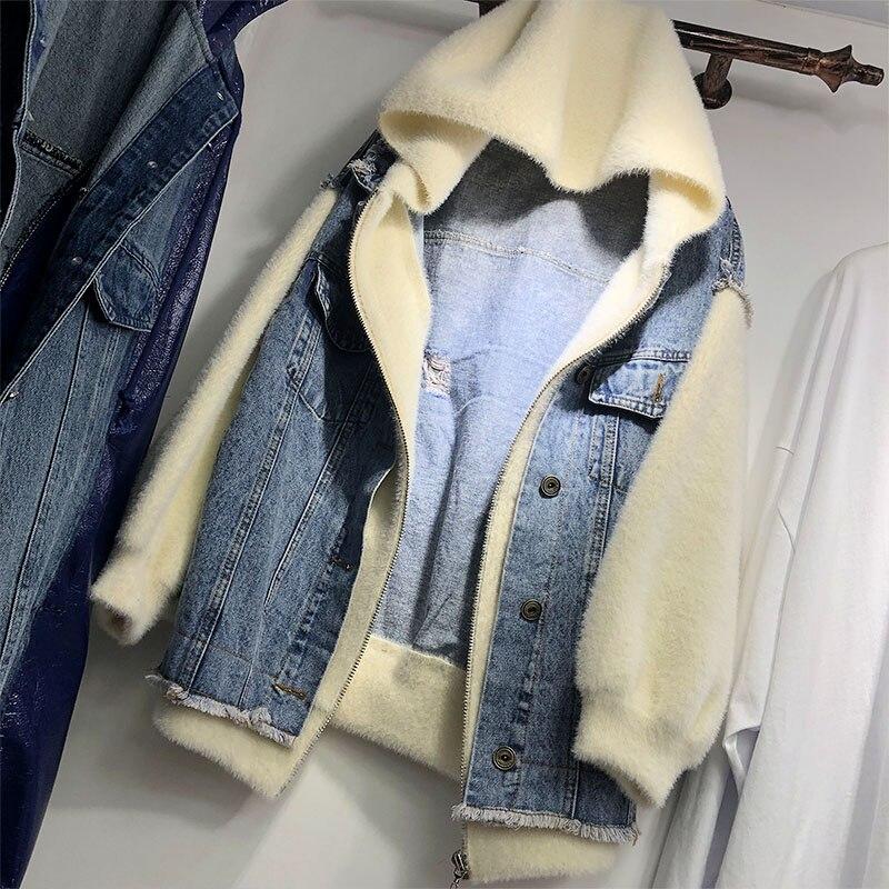 Patch Hiver Denim Bleu Manteau Mode Avec Lavé Femmes Automne Nouveau Twopiece Vison Faux Chapeau Veste 2018 Cheveux Manteaux wRxnqzAgA
