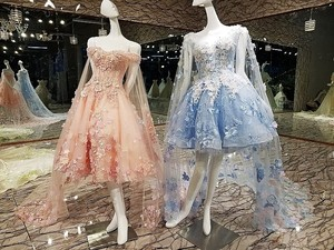 Image 2 - Short Evening Dress with Long Cape  Lace Up Back Appliques Pink and Blue Prom Dresses Abendkleider 2020 Real Photos