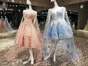 Image 2 - Vestido de noche corto con capa larga de encaje hacia arriba apliques de espalda rosa y azul vestidos de fiesta abendkleider 2020 fotos reales