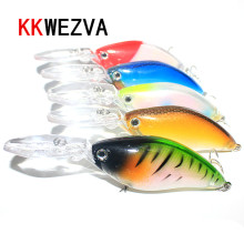 Купить с кэшбэком KKWEZVA 1pc 18G/11.5CM Laser Floating Deep Diving Crankbait Fishing Lures Wobblers With 6 # Owner Hooks peche isca artificial