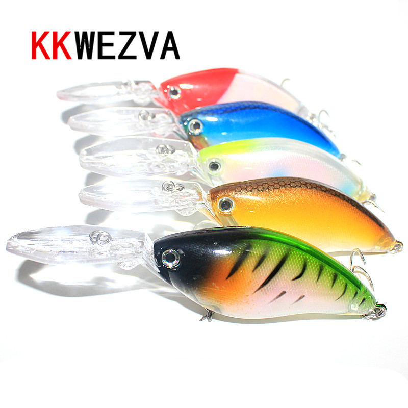 KKWEZVA 1pc 18G/11.5CM Laser Floating Deep Diving Crankbait Fishing Lures Wobblers With 6 # Owner Hooks peche isca artificial
