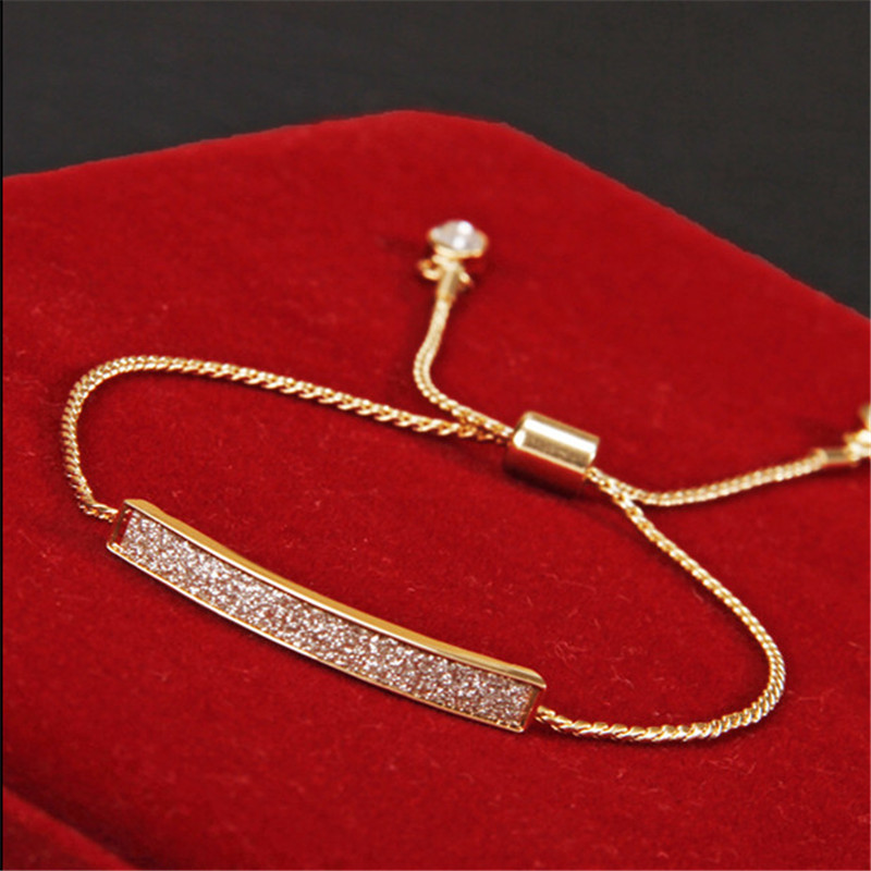 Unique CZ Diamond Micro Pave Fashion Bracelets & Bangles 18K Gold Plated Crystal Jewelry SL-177
