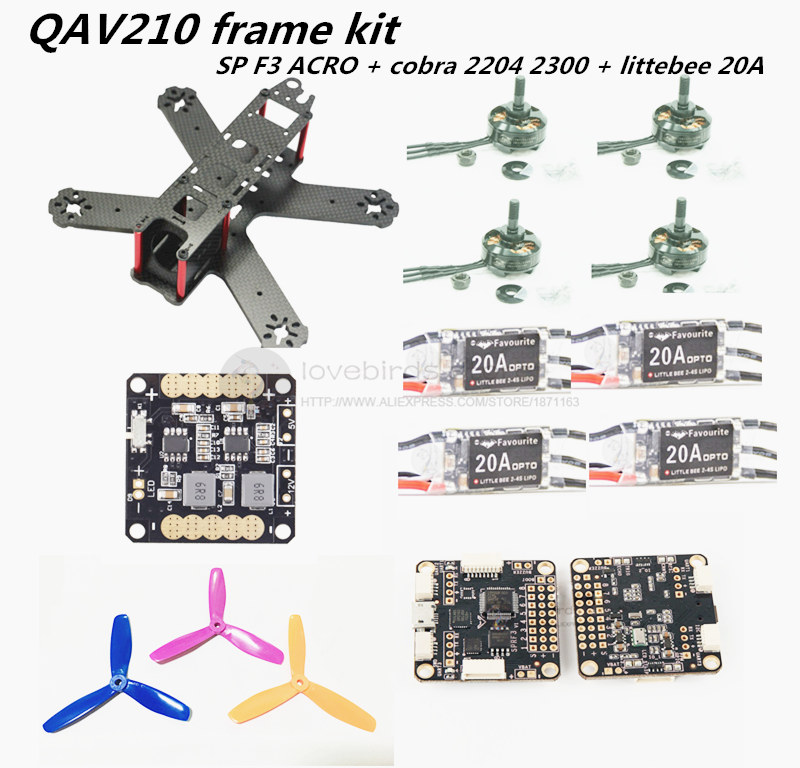 FPV QAV210 quadcopter mini drone frame kit pure carbon frame + cobra 2204 2300KV motor + littlebee 20A ESC +SP racing F3 Acro carbon fiber frame diy rc plane mini drone fpv 220mm quadcopter for qav r 220 f3 6dof flight controller rs2205 2300kv motor