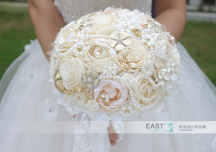 DIY Ivory brooch bouquet Plants flower Bride Bridal Wedding Bouquet ...