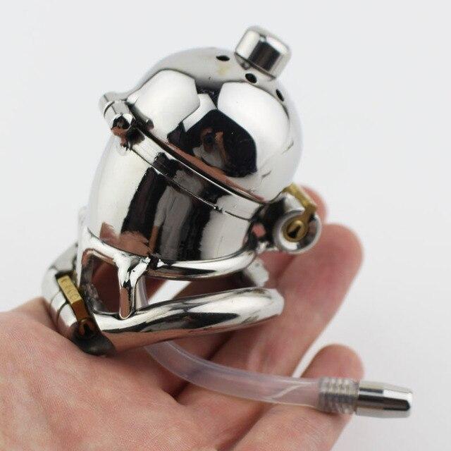 Nuevo diseño de doble Bloqueo de acero inoxidable Dispositivo de Castidad  cinturón de castidad masculina Metal 7f6d8c5166c