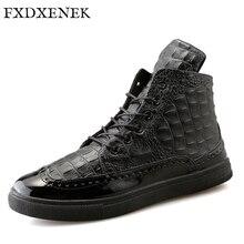 FXDXENEK Brand New Autumn Winter High Top men casual shoes Luxury Leather Shoes Male Footwear Fashion Designer Men Flats