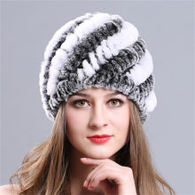 5db304a5a74fe iMucci Rabbit Fur Hats Fashion Womens Real Rex with Stripe Design Cute Ladies  Winter Warm Rabbit Fur Caps