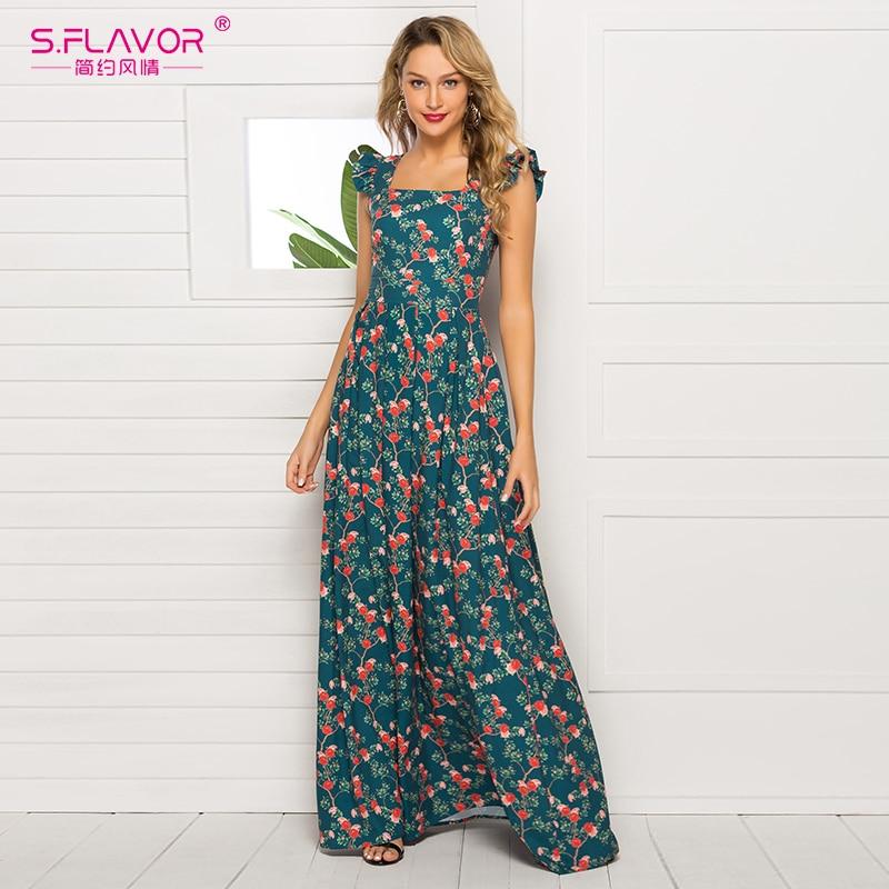 S.FLAVOR Elegant Women Sleeveless Vestidos Fashion Floral Printed Square Collar Vintage Long Dress Boho Slim Dress
