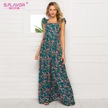 S.FLAVOR eleganckie damskie bez rękawów Vestidos modne kwiatowe drukowane kwadratowy kołnierzyk w stylu Vintage długie sukienki czeski Maxi sukienka
