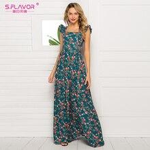 S. GESCHMACK Elegante Frauen Sleeveless Vestidos Fashion Floral Gedruckt Platz Kragen Vintage Lange Kleid Bohemian Maxi Kleid