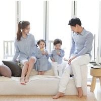 Family Full Sleeve Shirts Mommy Dad Kids Matching Clothes Sky Blue Plaid Lapel Cotton Blouse Comfortable
