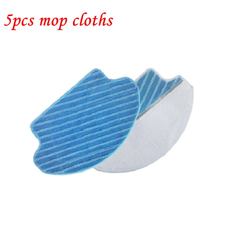 5pcs Washable Wet & Dry mop cloths Pads mop for Ecovacs DEEBOT DT85 DT83 DM81 SDT85G robot vacuum cleaner parts microfiber cloth microfiber wet room pads 24 in long split nylon polyester blend blue