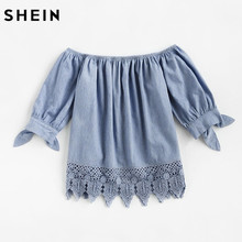 SHEIN Blue Crochet Trim Bow Tie Cuff Chambray Bardot Top Casual Summer Womens Tops Boat Neck Half Sleeve Cute Blouse