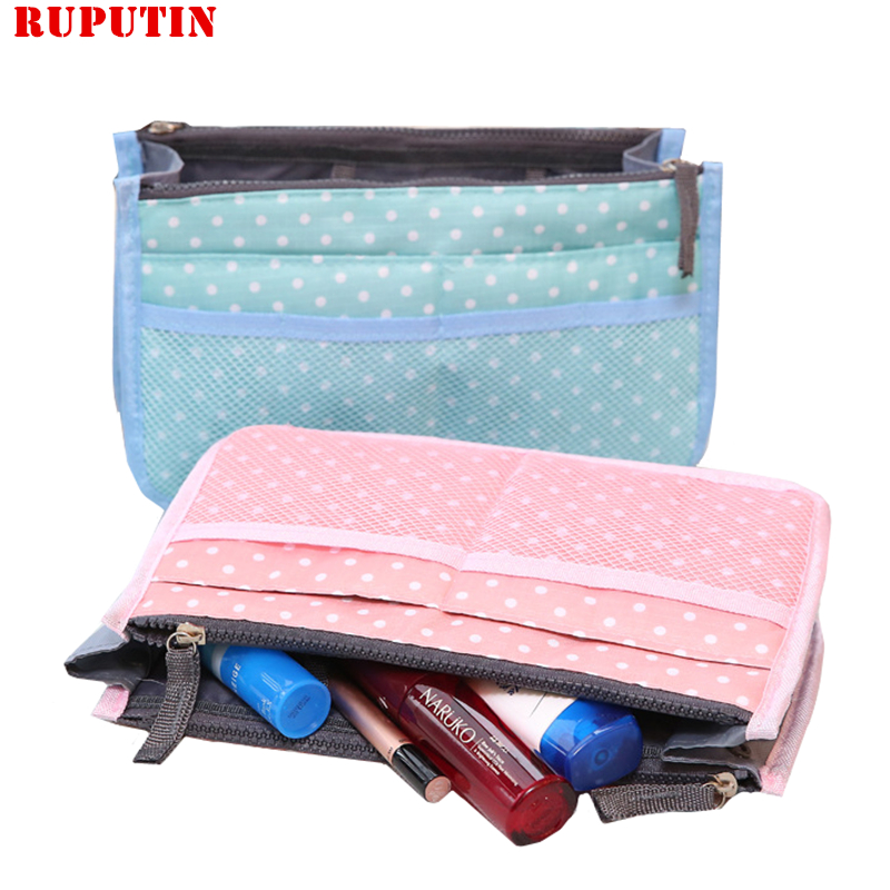 RUPUTIN Travel Insert Bag Women Make Up Organizer Bag Toiletry Travel Kits Storage Finishing Bag Double Zippe Color Cosmetic Bag