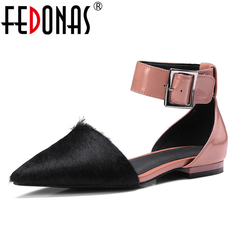 FEDONAS Fashion Dress Women Thick Heels Ankle Strap Pumps Sexy Pointed Toe Wedding Party Shoes Woman