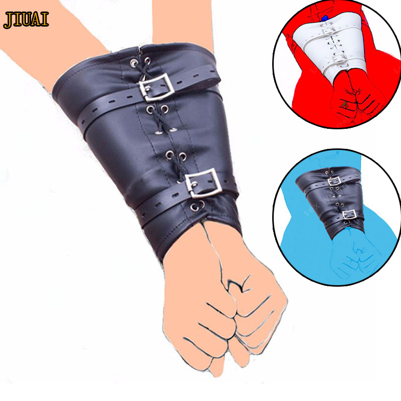 Leather Over Shoulder Arm Binder Slave Lockable Glove Sleeves Armbinder Harness