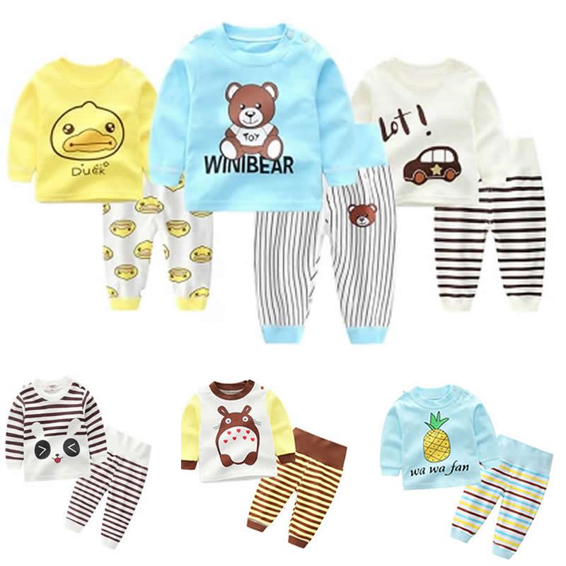 Cartoon Ente Baby Kleinkinder Kinder Mädchen Nachtwäsche Pyjamas Set Nachtwäsche Baby Homewear Kleidung Anzug Hohe Taille Baby Jungen Unterwäsche Den Menschen In Ihrem TäGlichen Leben Mehr Komfort Bringen