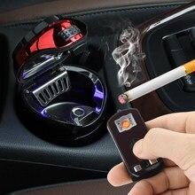 Автомобиль из нержавеющей стали для пепельница с светодиодный съемный прикуриватель USB, зарядное устройство солнечной кнопочная ячейка зарядки многофункциональный держатель