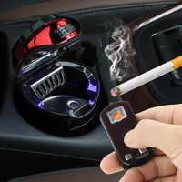 Автомобиль из нержавеющей стали для пепельница с светодиодный съемный прикуриватель USB, зарядное устройство солнечной кнопочная ячейка за...