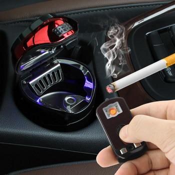 מכונית נירוסטה עישון מאפרה עם LED להסרה מצית USB שמש כפתור סלולרי טעינה רב תכליתי מחזיק