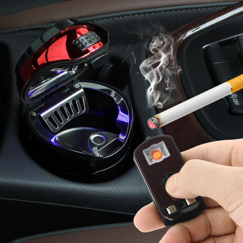 Car Stainless Steel Smoking Ashtray With LED Detachable Cigarette Lighter USB Solar Button Cell Charging Multifunctional Holder