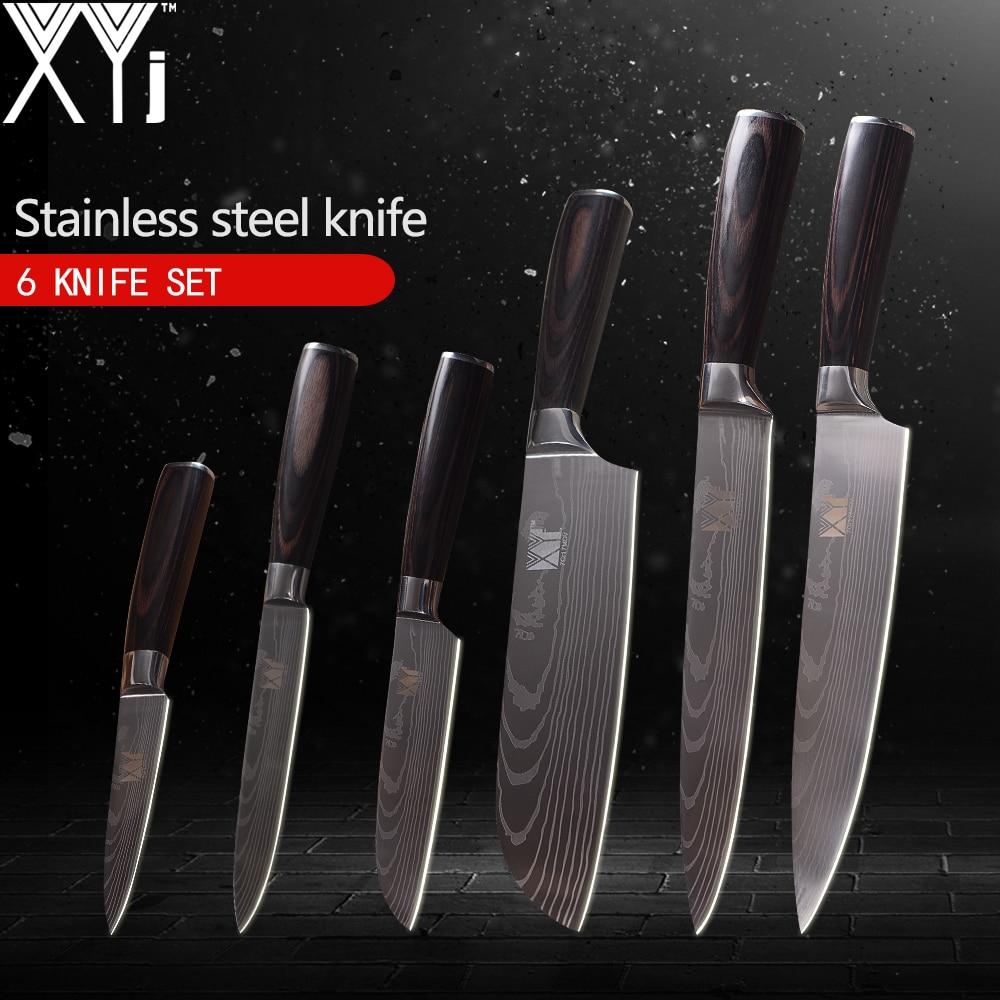 Кухонные ножи xyj 3,5, 5, 5, 7, 8, 8 дюймов японский Стиль Пособия по кулинарии инструменты Цвет деревянной ручкой 7Cr17 Нержавеющаясталь ножи 6 шт на...