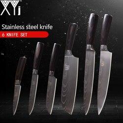 XYj Coltelli Da Cucina 3.5, 5, 5, 7, 8, 8 inch Stile Giapponese Strumenti di Cottura Manico In Legno di Colore 7Cr17 Coltelli In Acciaio Inox 6 pezzi Set