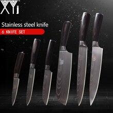 Кухонные ножи xyj 3,5, 5, 5, 7, 8, 8 дюймов японский Стиль Пособия по кулинарии инструменты Цвет деревянной ручкой 7Cr17 Нержавеющаясталь ножи 6 шт набор