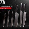 XYj juego de cuchillos de cocina 3,5 5 7 8 8 pulgadas estilo japonés herramientas de la cocina de madera de Color con 7Cr17 cuchillos de acero inoxidable 6 piezas conjunto