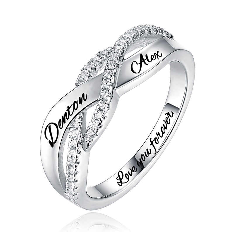 11b7d36119 AILIN Personalized Sterling Silver Round Birthstone Twisted Ring for  Mother's Birthday Gift Size 6-12