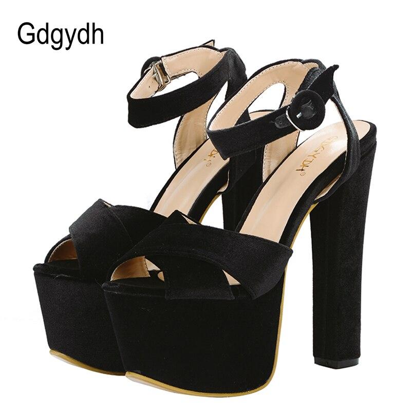 Gdgydh فائقة عالية الكعب الصنادل المرأة منصة مفتوحة تو الصنادل الإناث الصيف sapatos femininos أحذية السيدات كعب سميك ناضجة-في كعب عالي من أحذية على  مجموعة 1
