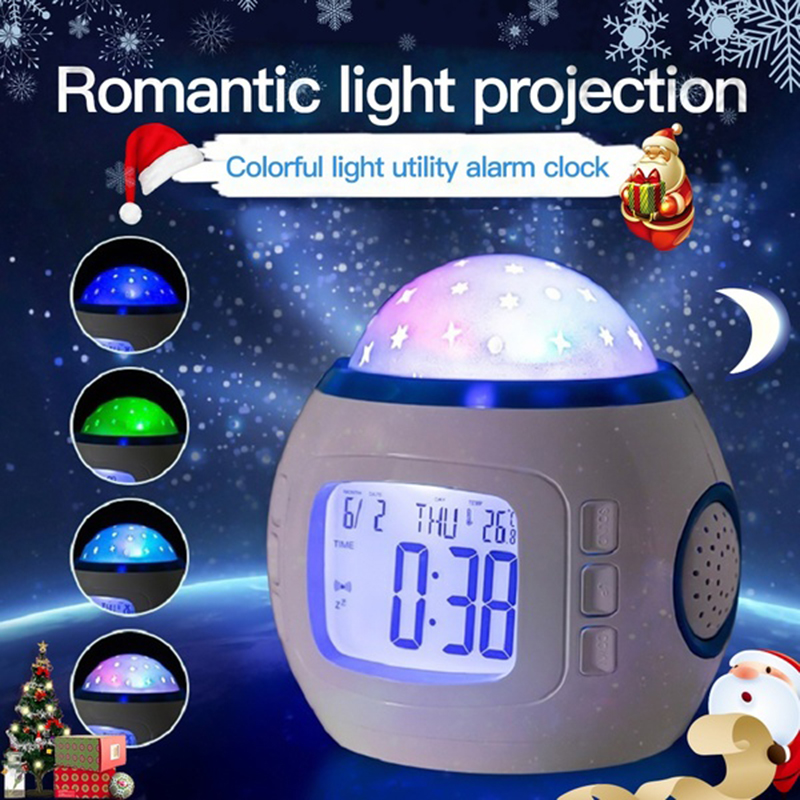 Sky Star Night Light Projection Lamp With Multi-Function Led Alarm Clock Music Calendar Thermometer Kids Night Lights Home Decor