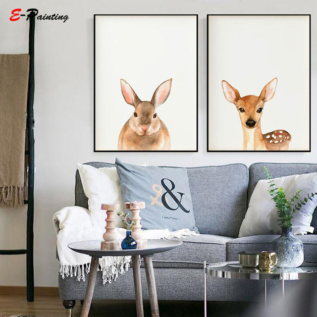 Nordic Canvas Art Painting Animal Nursery Wall Decoration Picture Giraffe Rabbit Deer Prints Kid Bedroom Christmas Gift Poster
