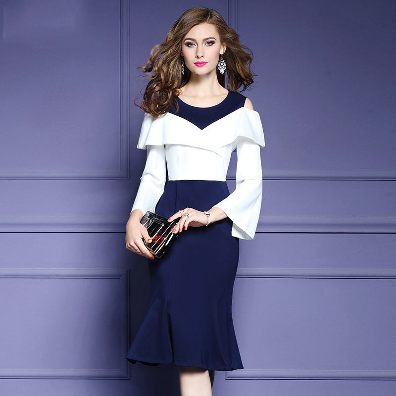 2018 hit color stitching Slim dress female strapless long sleeve Bodycon Dress