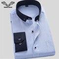 2017 Новое Прибытие Плед Печатные Мужчины Рубашка Повседневная Brand Clothing Мода Длинным Рукавом Социальный Бизнес Рубашки Сорочка Homme N1209