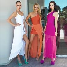 INDRESSME 2017 New One Shoulder Mesh Bodycon Maxi Dress Bandage Women Dress Chiffon