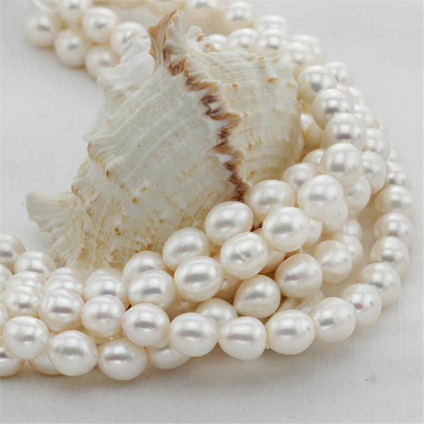 SNH 5 strands/package 11mm rice AA cute shape for girl and women making necklace pearl strand