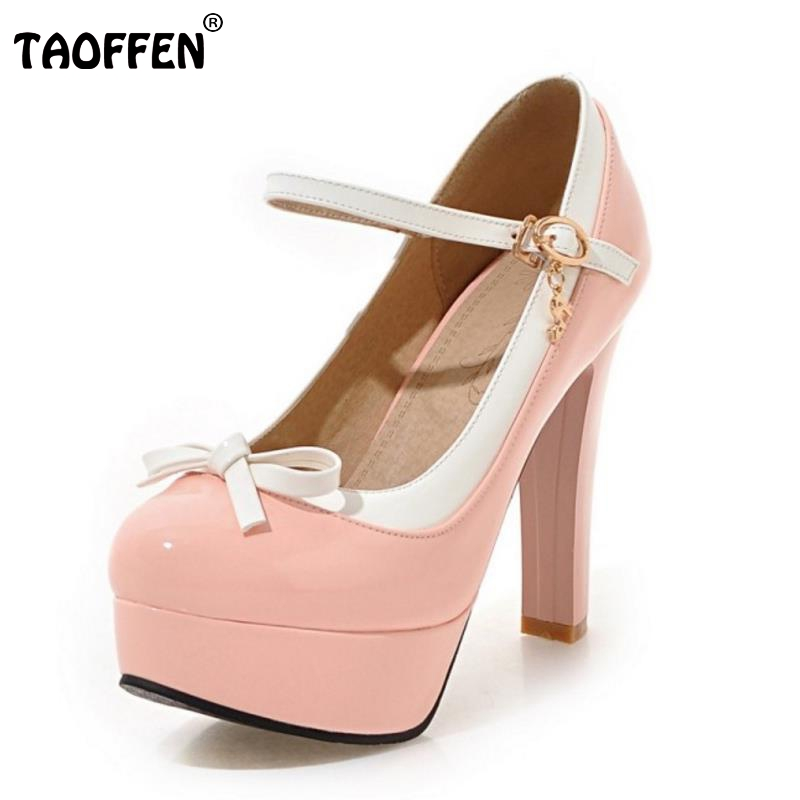 TAOFFEN Women Shoes Women Pumps High Heel Pumps Thin Heels Platform Bowtie Bowknot Candy Color Sweet Female Footwear Size 34-43 taoffen women high heels shoes women thin heeled pumps round toe shoes women platform weeding party sexy footwear size 34 39